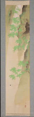 "JAPANESE HANGING SCROLL ART Painting Scenery ""Waterfall"" Asian antique  #E4738"