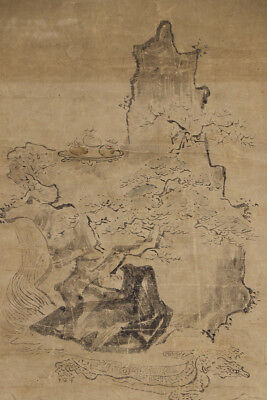 """JAPANESE HANGING SCROLL ART Painting """"Mt. Horai on Turtle"""" Kano School  #E4720"""