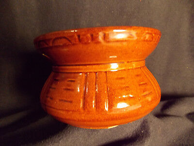 SPITTOON, RRP CO. ROSEVILLE, OHIO, BROWN  CUSPIDOR, POTTERY #193  USA Planter