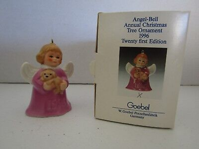 Goebel ANGEL BELL ORNAMENT Pink Angel With Puppy 1996 MIB!