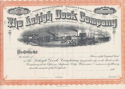 The Lehigh Dock Company Unissued Stock Certificate Rare Wisconsin 1880's Mint