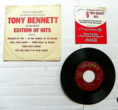 """1957 Tony Bennett Autographed  """"edittion Of Hits"""" 45 Rpm Record W/offer Coupon"""