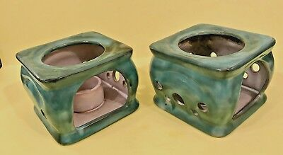 EUC Pair STANGL Candle Warmers Model 3412 USA Mottled Green
