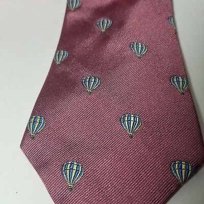 Hot Air Balloon Novelty Necktie Pink Silk OAKTON Ltd. Made in USA