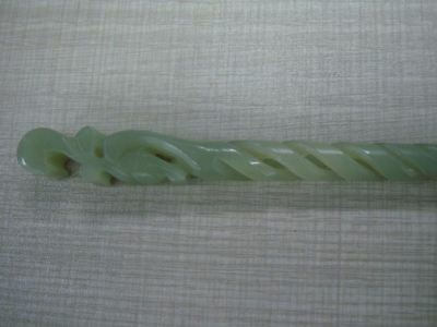 Beautiful Old Chinese Natural Nephrite Hand Carving Women Jade Hairpin