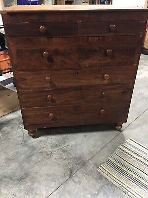 Antique English Cherry Chest Of Drawers 6 Drawer Bedroom Dresser