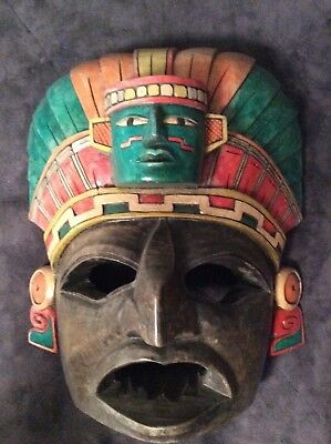 Mayan, Aztec, Hopewell carved Head-Mask Hand Carved, Wood Carving