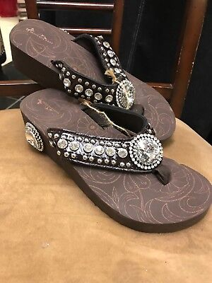 40b82df5f6bf8 MONTANA WEST WOMEN Flip Flops Shiny Western Bling Sandals Crystal ...