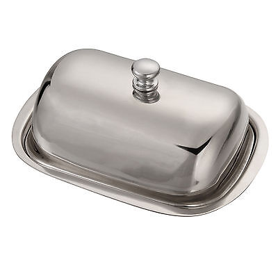 1 x Silver Color Vintage Retro Stainless Steel Butter Dish & Lid