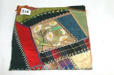 Antique Crazy Quilt Section Embroidered Flower Detailed Stitching Study C15