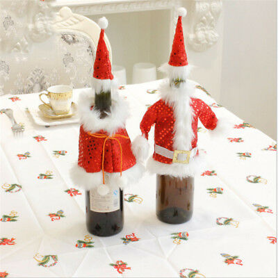 Christmas Red Wine Bottle Cover Clothes Gag With Hat Dinner Table Decor for Home