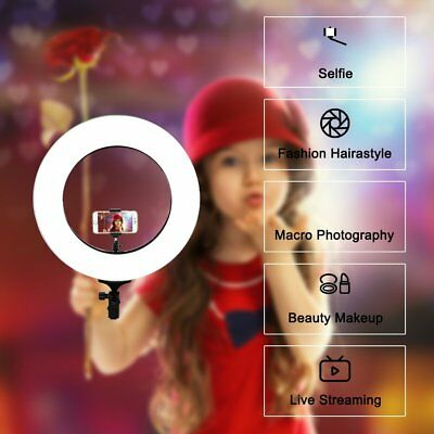 """US 14"""" Selfie LED Ring Light Dimmable Photography 41W 3500LM For Camera Video"""
