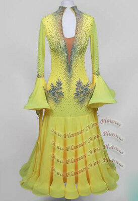 62723ca97 B7797 Ballroom Standard Smooth competition dance dress gown Custom Made  yellow