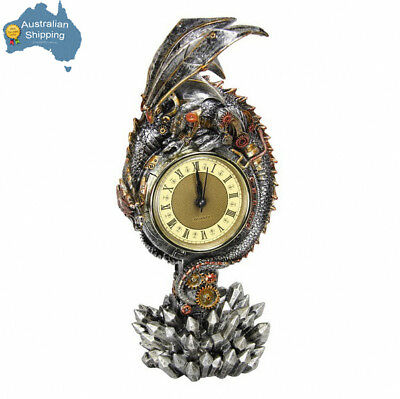 1pc 28cm Steampunk Bronze Finish Table Top Dragon Clock Collectable