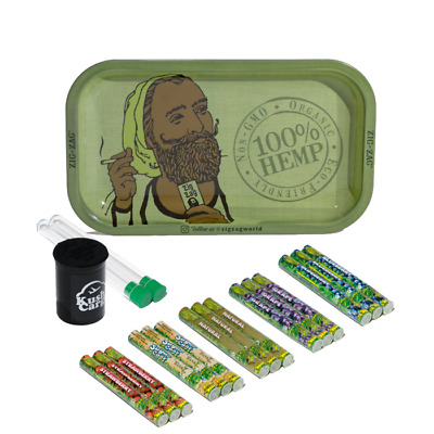 Zig Zag Green Rolling Tray with Cyclone Hemp Cones All Natural 15 Packs