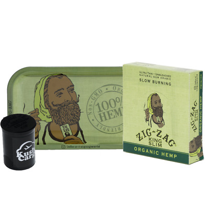 Zig Zag Green Rolling Tray with Zig Zag Hemp Rolling Papers Full Box 24 Packs