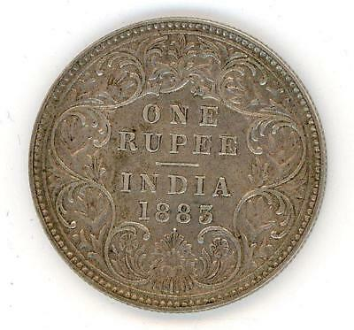 1883 India Silver One Rupee - Queen Victoria