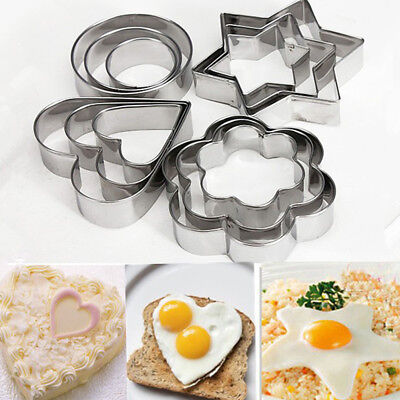 12pc/set Baking Moulds Stainless Steel Cookie Cutters DIY Mold Stencils Pastry