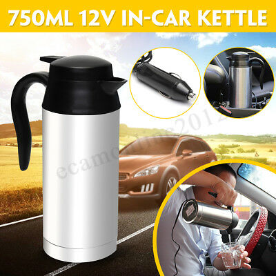 12V 750ml Stainless Steel Electric In-Car Kettle Car Travel Heating Water Bottle