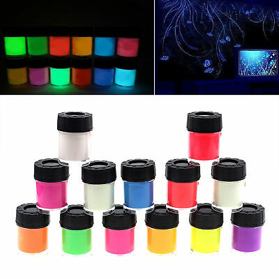 30g-Glow-in-the-Dark-Leuchtfarbe-Bright-Pigment-Xmas Party-Decor 7 Farben