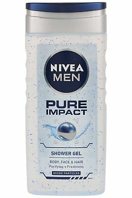 Nivea Pure Impact Shower Gel For Men Body Face & Hair Hydration 250ml