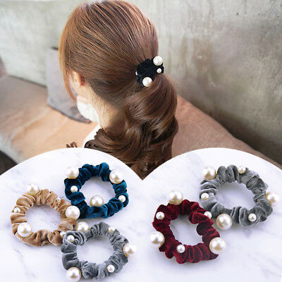 Velvet Elastic Pearl Hair Ropes Accessories Scrunchies Ponytail Holder Hairband