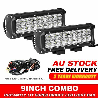 """2X 9inch LED Work Light Bar Combo Offroad 4WD Boat SUV Driving Lamps ATV 7"""" 10"""