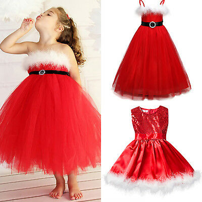 Toddler Girls Kids Christmas Tutu Dress Paillette Party Dresses Xmas Red Outfits