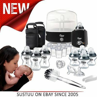 Tommee Tippee Closer to Nature Complete Baby Feeding Set│Quick Steriliser│Black