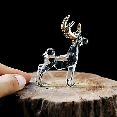 New Deer Hand Blown Glass Figurine Collectibles Art Clear Glass Decor Charm Cute