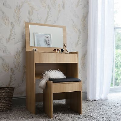 Compact White Dressing Table Vanity Desk with Flip Up Mirror and Stool