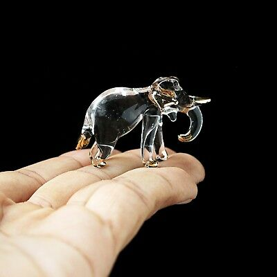 New Elephant Hand Blown Glass Figurine Collectibles Art Clear Glass Decor Charm#