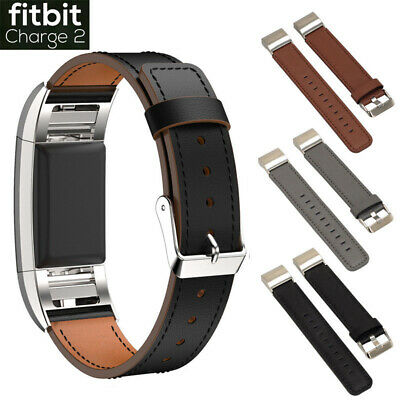 Replacement Bands, Classic Genuine Leather Wristband Strap For Fitbit Charge 2