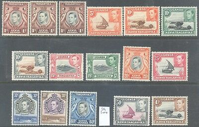 KENYA UGANDA TANGANYIKA 1938/52 KG6 Pictorial Values to 1/- (16) Mint