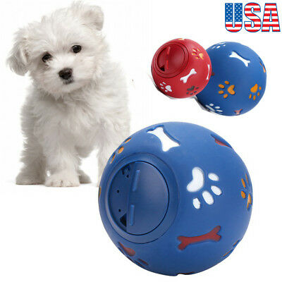 Pet Dog Cat Treat Feeder Ball Chew Training Toy Dispenser Interactive Fun Play