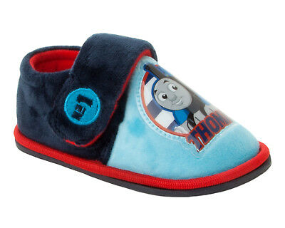 Boys Blue Official Thomas The Tank Engine Touch Fasten Slippers Uk Size 5-10