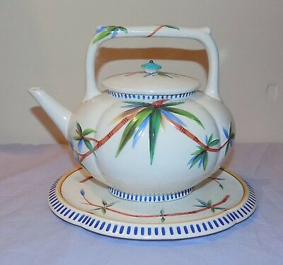 Antique 19thC Wedgwood Aesthetic Tea Kettle & Stand Dr Christopher Dresser Style