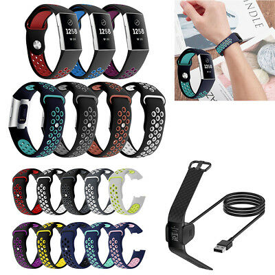 For Fitbit Charge 3 Replacement Silicone Watch Band Wrist Strap & Charging Cable