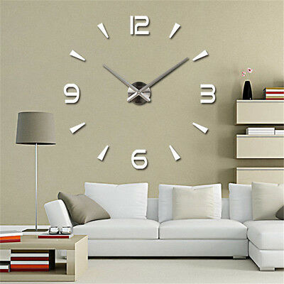 DIY 3D Horloge Murale Miroir Autocollant Grand Montre Art Décor Salon Maison FR