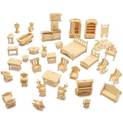 34Pcs/Set Wooden Furniture Dollhouse House Miniature Playing Toys Kids Gifts Hot