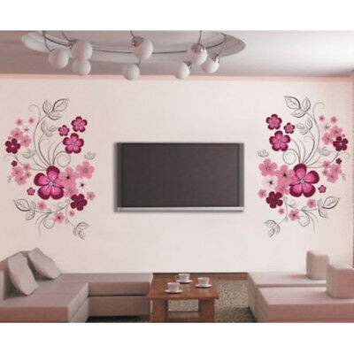 Decors Wall sticker 60*90cm TV Background Graphics Floral Removable Flower Art