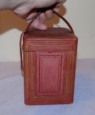 Antique Brass Carriage Clock Red Vellum Covered Lock Button Travel Carry Case