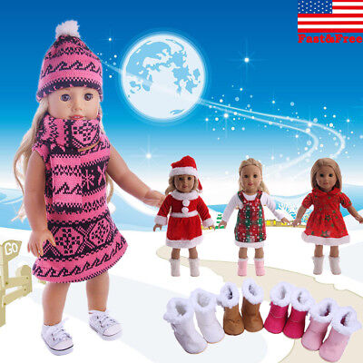 Lot Doll Clothes Christmas Dress Kit Outfit For 18'' American Girl Xmas Gift US
