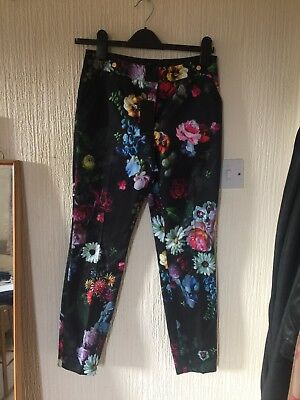 c693d0d020a0 Ted Baker Black Floral Skinny Fit Trouser Ted Size 1 UK Size 8 Brand New