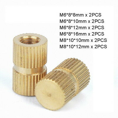 12pc M6 M8 Solid Brass Injection Molding Knurled Thread Inserts Kit - Blind Hole