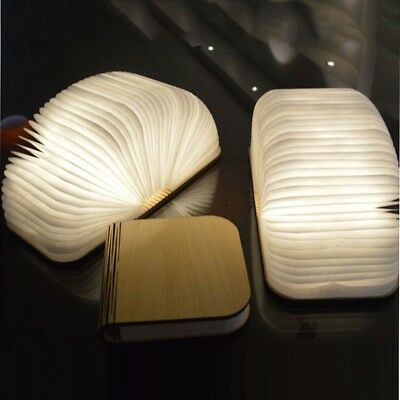 USB Rechargeable Wooden Folding LED Book Light Magnetic Lampesk Table Lamp Decor