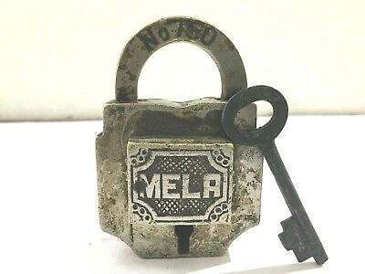An old brass antique solid decorative trick puzzle padlock with key MELA