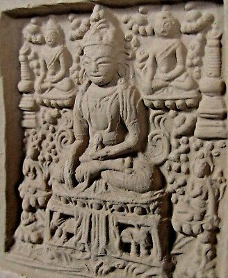 Fine Asia Asian Pottery Clay Relief Tsa Tsa Buddhist 5 Figure Scene ca. 20th c
