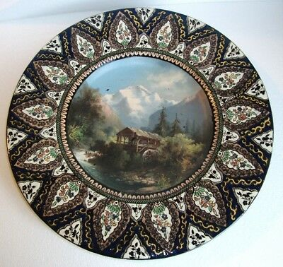 """Thoune Pottery Charger With Painted Scene """" Jungfrau"""""""