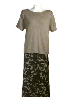 Silk Lore by Beth Terrell Sweater and Layered Printed Skirt Set, L, NWT